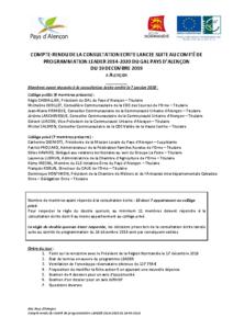 GAL PAYS D'ALENCON – CR CP LEADER 19-12-2019 CE